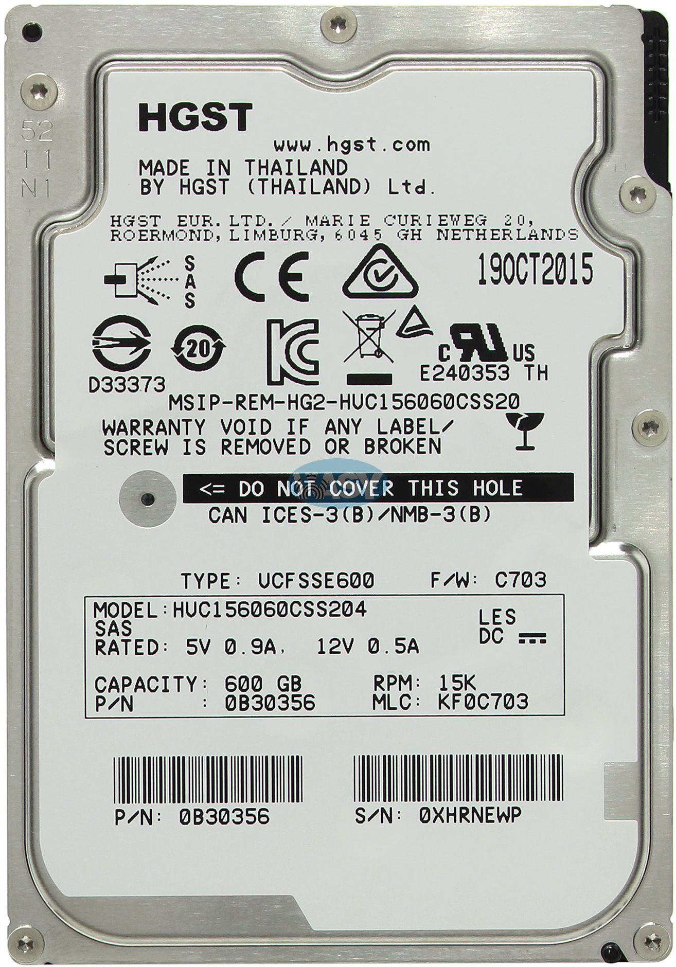 "HGST HUC156060CSS204 600GB SAS 2.5/"" Hard Drive 12GB//S 15K RPM 128MB 0B30356"